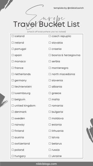 europe travel bucket list template grey