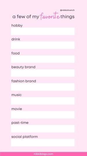 my favorites instagram template pink