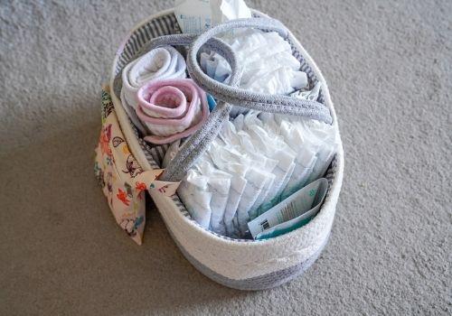 diaper caddy alternative ideas - use as a breastfeeding basket with nursing essentials