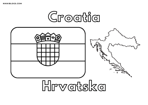 european flags coloring pages - croatia