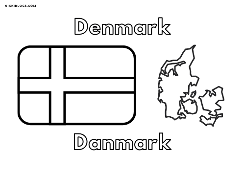 european flags coloring pages - denmark