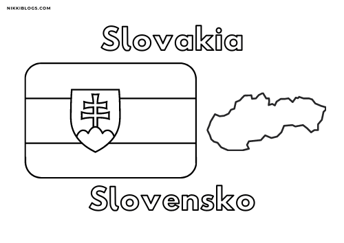european flags coloring pages - slovakia
