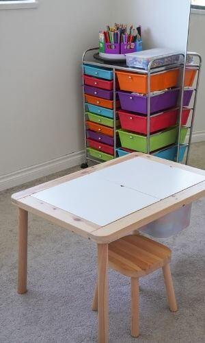 kids homeschool learning desk near art supplies organizer