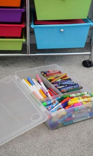 organize children's art supplies with ikea glis