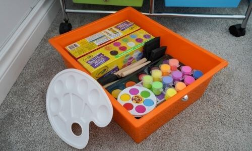 how to organize kids paint supplies with rolling cart drawers