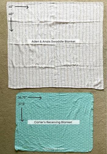 carters receiving blanket vs aden anais swaddle size comparison