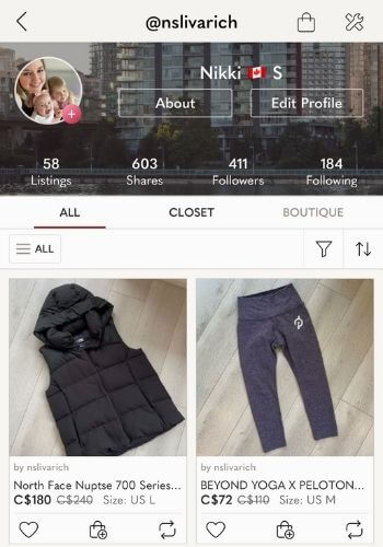 how does poshmark work for selling - profile screenshot