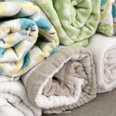 swaddle blankets folded for storage