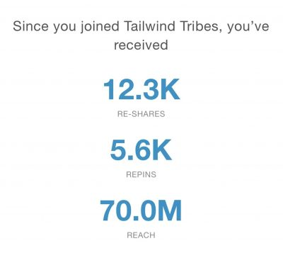 shows tailwind tribes statistics for nikki blogs including 70 million reach