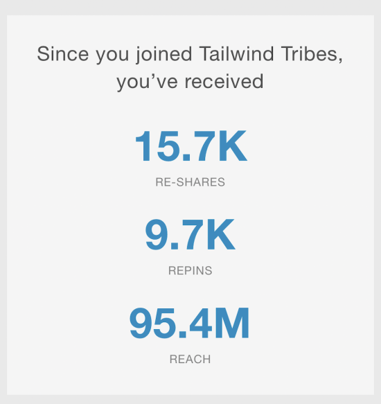 screenshot of tailwind pinterest scheduler tribes statistics showing over 95.4 million reach